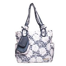Laura Ashley 4 Piece Tote Diaper Bag  Gray Floral