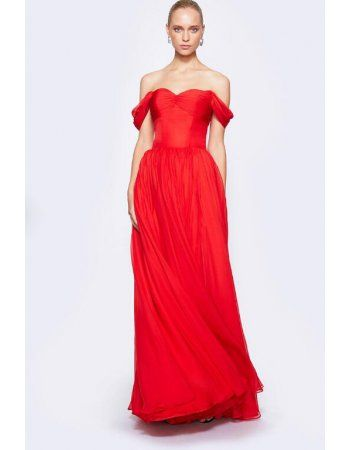 Simple Red Shoulder Straps Long Pleated Chiffon Prom Dress