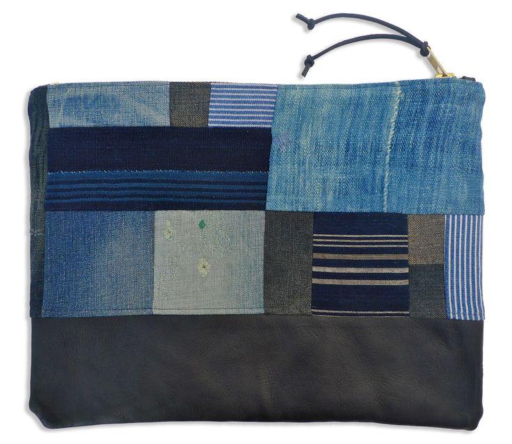 indigo patchwork zippered pouch