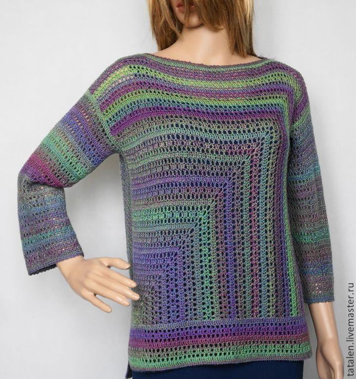 """Купить Пуловер """"Зелёный меланж"""" - зеленый, в полоску, авторская ручная работа, пуловер ручной работы"""