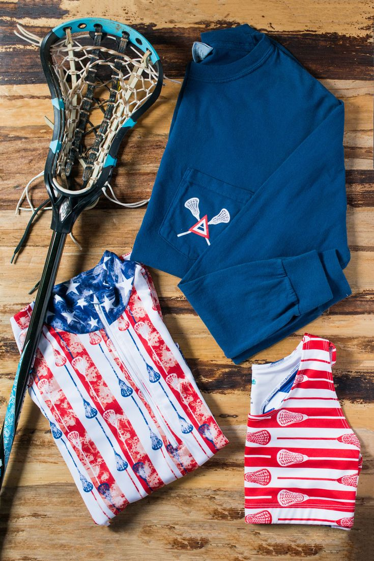 Sportabella Girl's Lacrosse Outfit - USA Print - Red, White, and Blue - Bella 1/4 Zip Pullover, 'Lax As One' Long Sleeve Navy Pocket Tee, and matching USA Lax Sports Bra - Shop the collection at Sportabella.com!