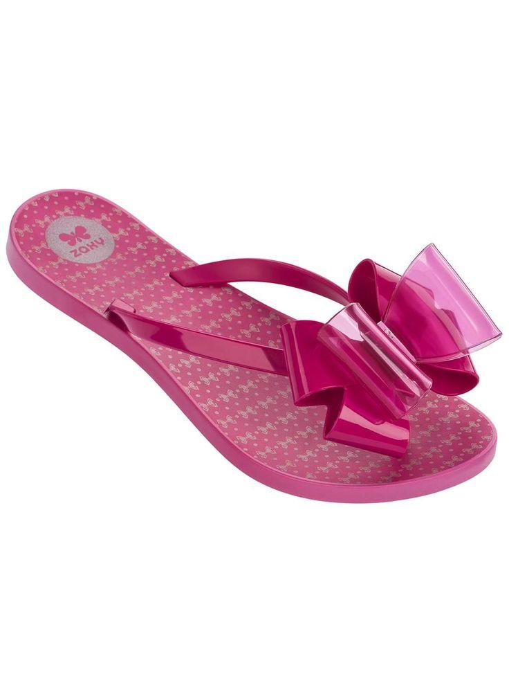 Womens **Zaxy Pink Twin Bow Flip Flops- Pink