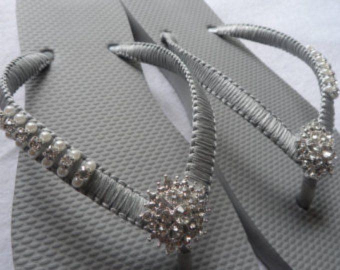 1352e84fd97b7 COLORS Wedding Flip Flops   Bridal Pearls Sandals   Light Blue Color ...