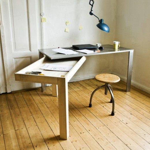 Borde gå att göra själv! Med typ två ikea-bord med träben. Såga av lika många centimeter av benet som skivan är tjock och fäst skivorna i varandra på något sätt.