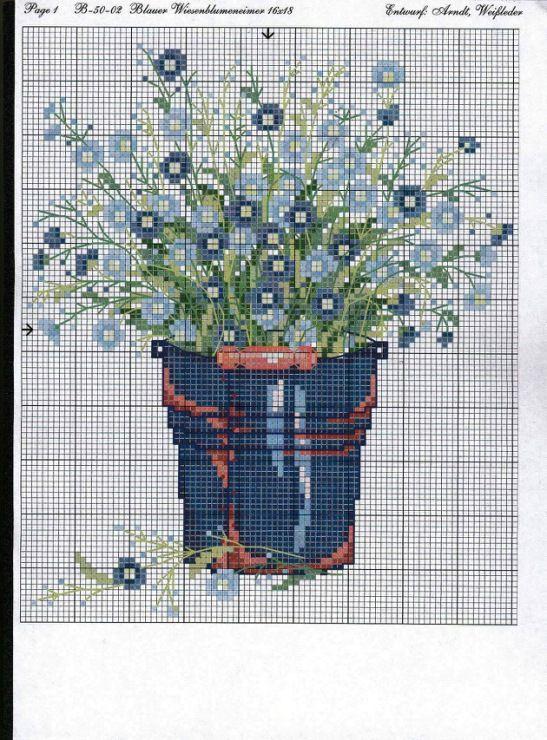 Flower forget me nots cross stitch