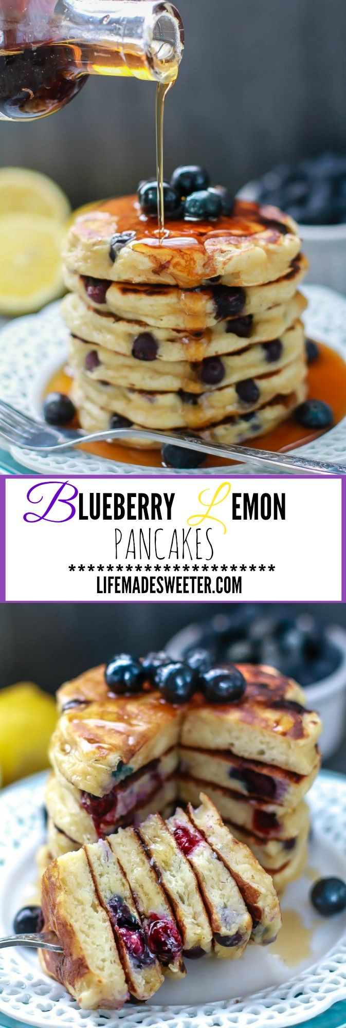 Fluffy Blueberry Lemon Pancakes are the perfect way to start the weekend! Made with Greek yogurt and so soft and melt-in your mouth with delicious blueberries in every bite. Best for lazy Sundays or any old day!