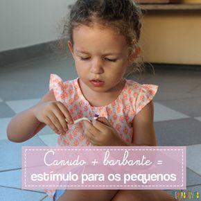Veja como usar canudo, barbante e fita mágica para fazer uma brincadeira para estimular a coordenação motora fina de crianças pequenas