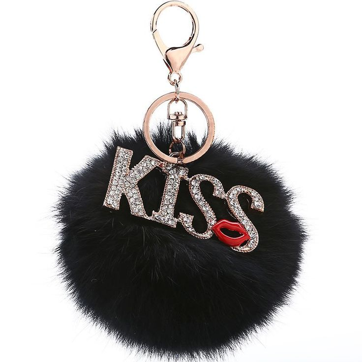 Pompon Keyring Charm with Crystals Kiss