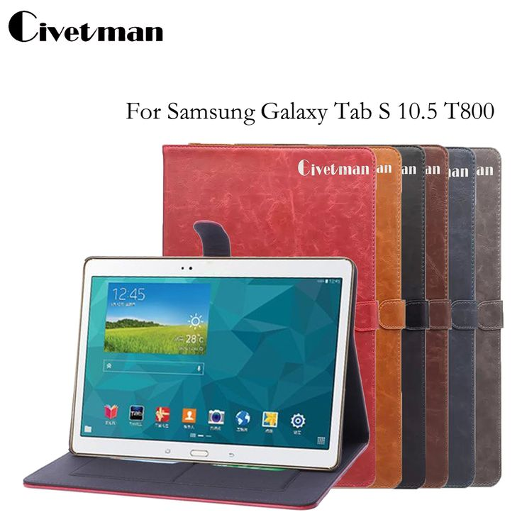 Civetman Ultra Slim Crazy Horse Lightweight Smart-shell Stand Case For Samsung Galaxy Tab S 10.5 T800 Case for Tab S 10.5 T805