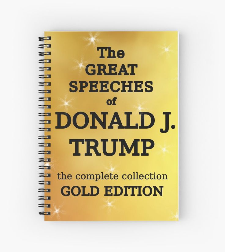 """Great Speeches of Donald Trump BLANK BOOK.  """"Gold edition"""", as it should be! Great Christams gift or anytime present for all your anti-Trump friends.  And when 45 goes to prison it'll make a great keepsake.  Pair it with our famous Trump countdown calendar (available in our shop as well) for the perfect impeachment gift to a Democrat, liberal, progressive or intelligent human being. / You can buy it on a journal or a spiral notebook in our shop at http:/..."""