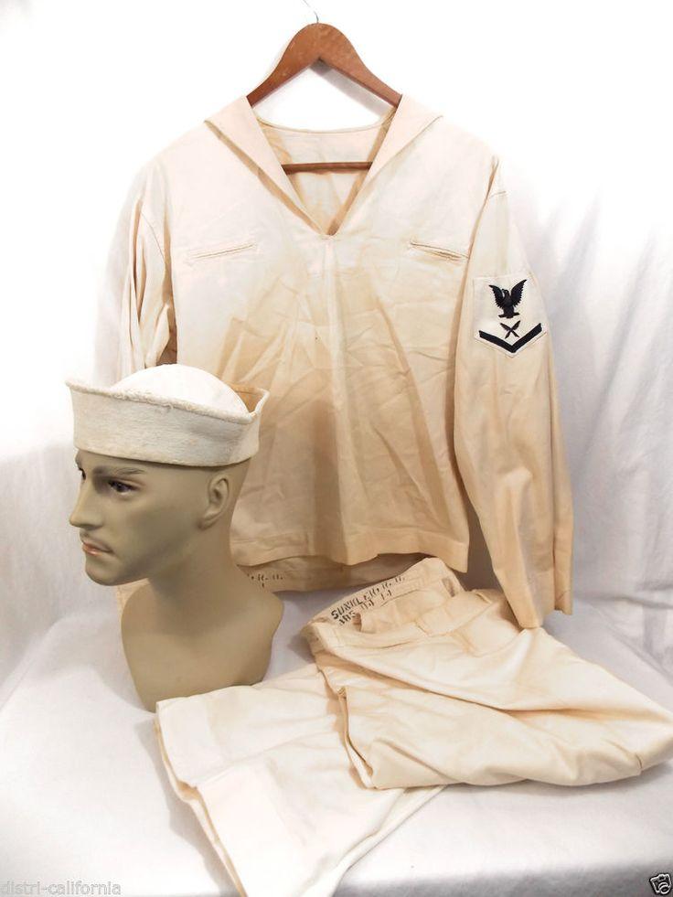 1940 Uniforme US NAVY Marine Militaire Americaine Vareuse Mariniere Bashi WW2