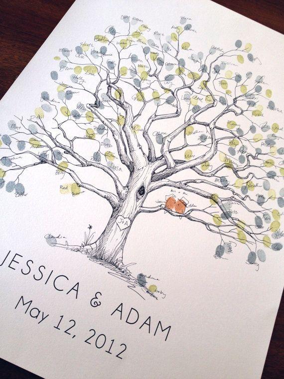 Fingerprint Tree Wedding Guest Book Alternative, Original Hand-drawn Extra Large Twisted Oak Design (ink pads sold separately)