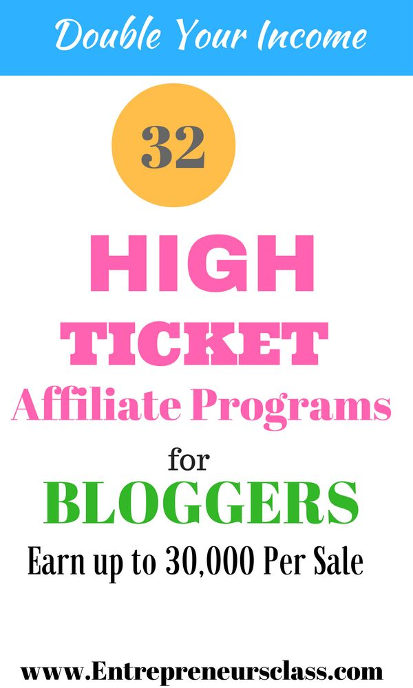 32 High Ticket Affiliate Programs To Promote In 2016.Check out the list of high ticket affiliate programs to skyrocket your affiliate earning.