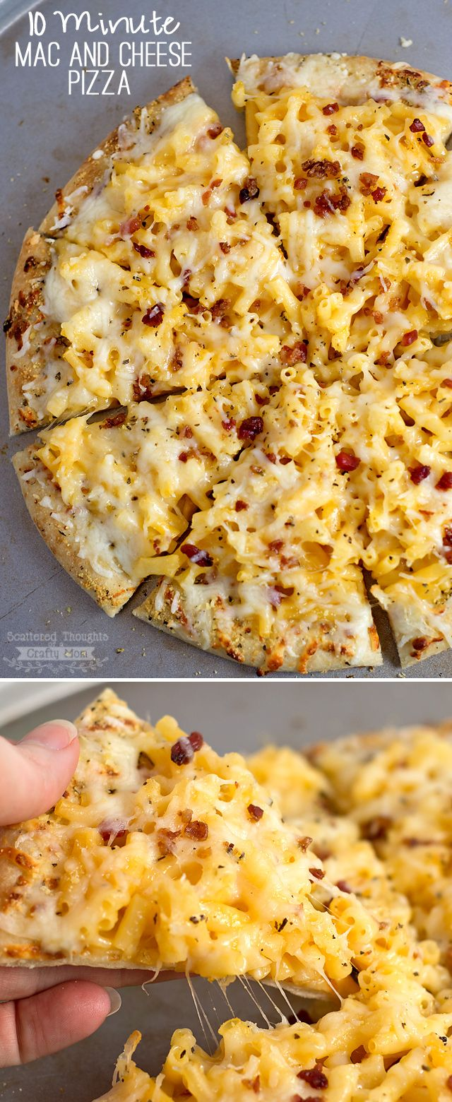 This 10 Minute Easy Mac and Cheese Pizza recipe is a great Last Minute Dinner Idea your kids will love!