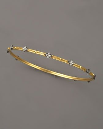 Diamond-Quatrefoil Bangle, Golden by Armenta at Neiman Marcus.