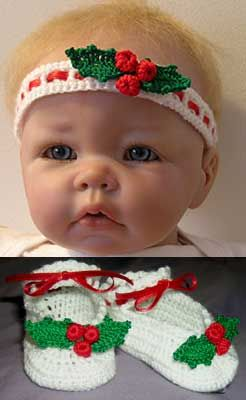 PF4 Holly Berry Baby Set to crochet. Downloadable pattern. Quick crochet for Christmas. My daughters having a christmas baby due 21st Dec 13 so think will have a go at the bootees first, thank you for sharing