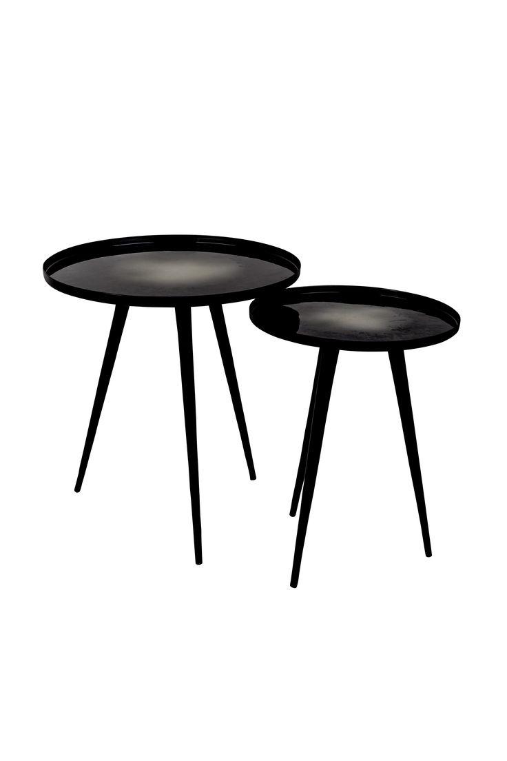 Flow side table set of 2 Black