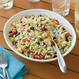 Orzo Salad with Grape Tomatoes and Feta:  AKA Greek Pasta Salad.  I would have to exchange the Feta for another cheese....