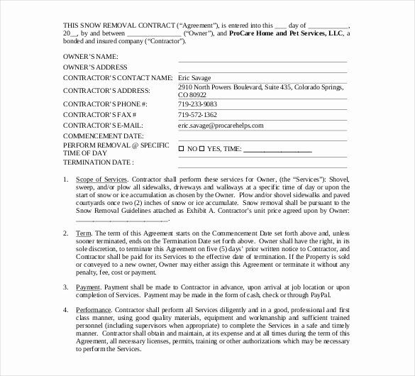 Snow Removal Contract Template Luxury 20 Snow Plowing Contract
