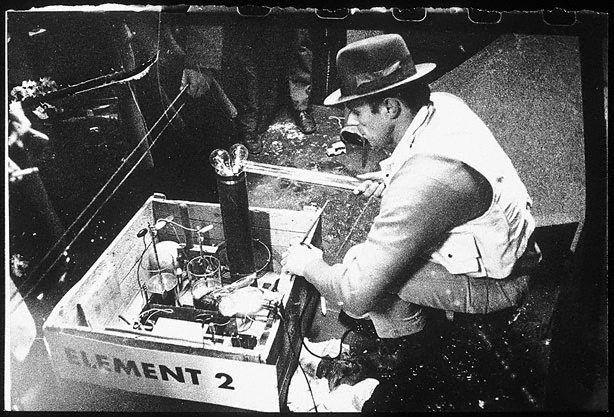 An image of Joseph Beuys in the Action 'Manresa' by Ute Klophaus, Joseph Beuys