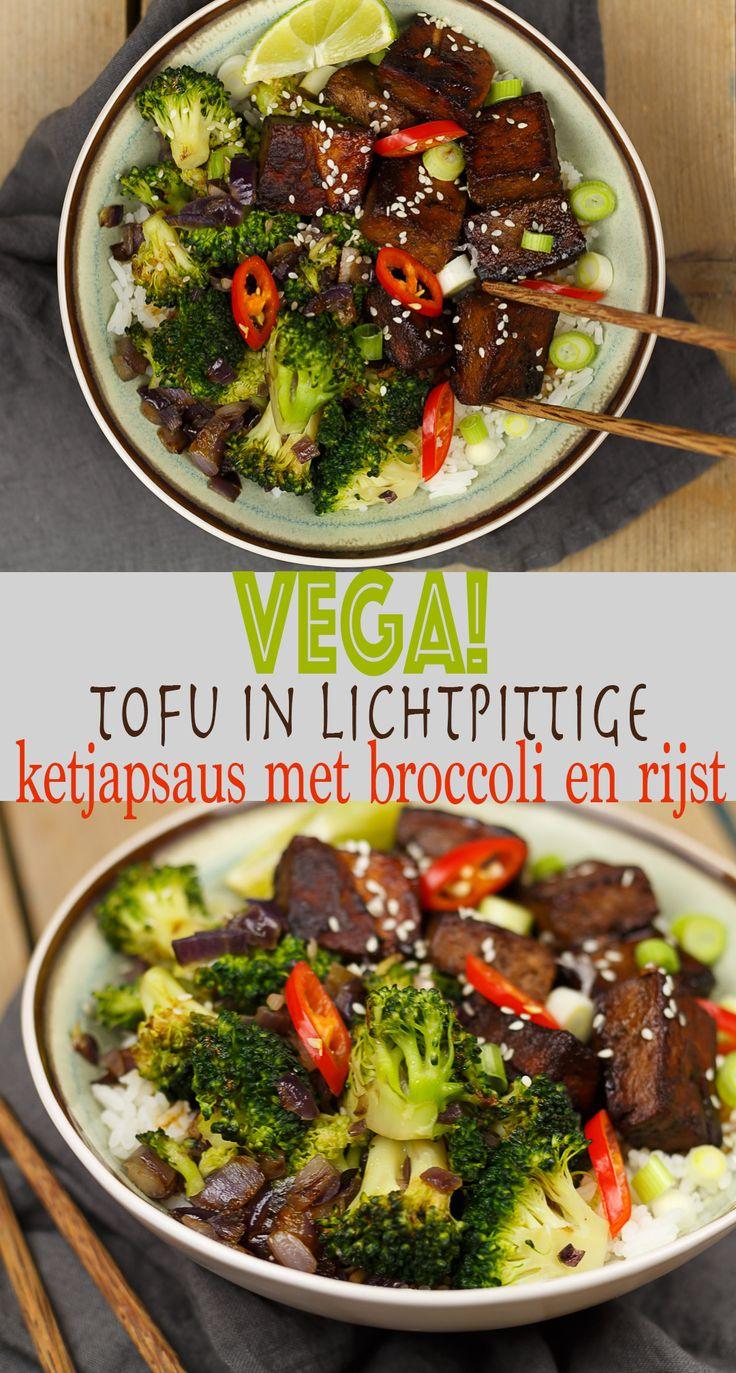 Vegetarisch! Tofu in lichtpittige ketjapsaus met broccoli en rijst #recept #recipe #vegetarisc #vegetarianrecipes #vegetarian #tofu #broccoli