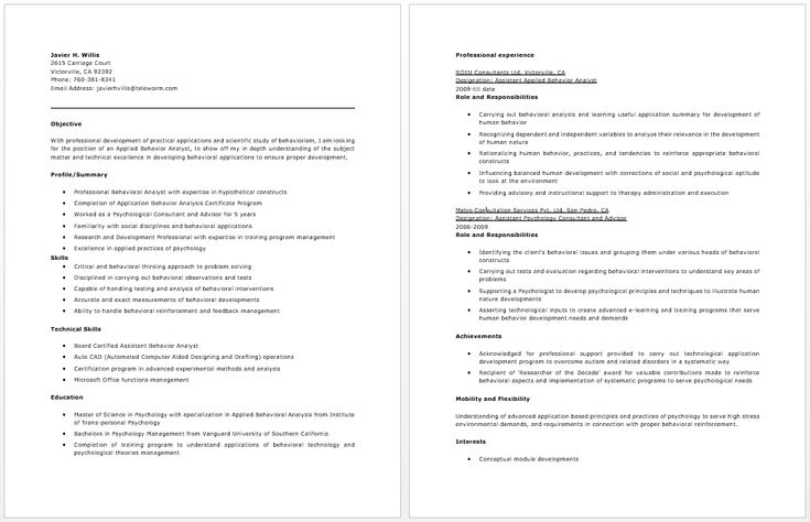 156 best Resume / Job images on Pinterest Resume examples, Free - Behavior Intervention Specialist Sample Resume