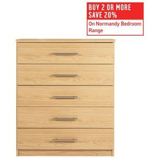 Buy HOME Normandy 5 Drawer Chest - Oak Effect at Argos.co.uk, visit Argos.co.uk to shop online for Bedside cabinets