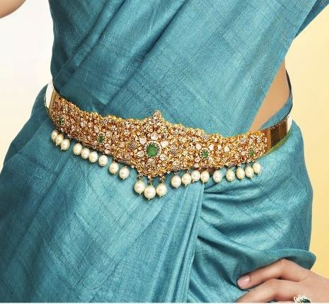 Vadannam with emaralds, diamonds and pearls.