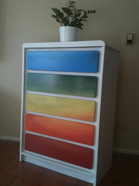 Rainbow 5 drawer dresser by chicagoattics on Etsy, $285.00
