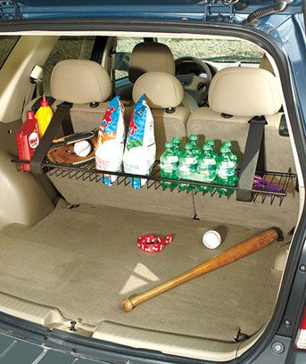 The Minivan/SUV Cargo Shelf lets you pack in more without crushing items on the bottom layers. This sturdy metal rack hangs from the rear seat of your vehicle