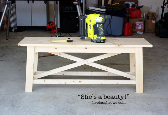 Completed Rustic Bench with livelaughrowe.com