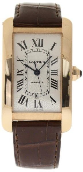 Cartier Tank Americaine W2609856 18K Rose Gold & Leather Automatic 31mm Unisex Watch