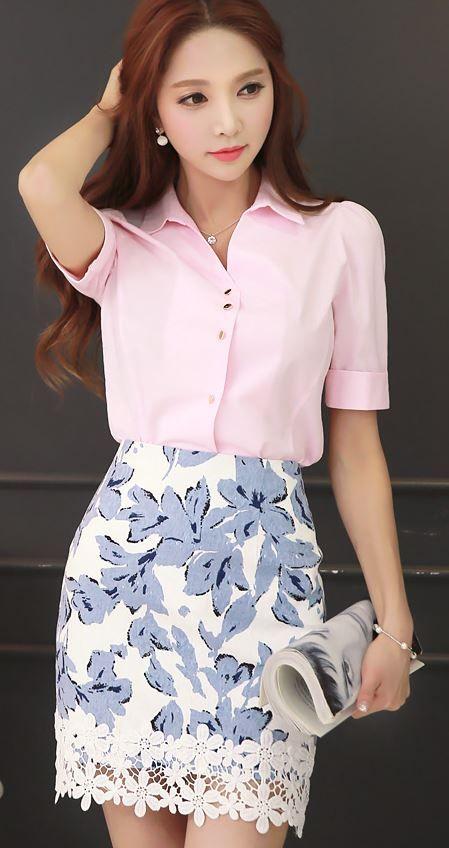 StyleOnMe_Jasmine Flower Patterned Lace Hem Pencil Skirt #koreanfashion #floral…