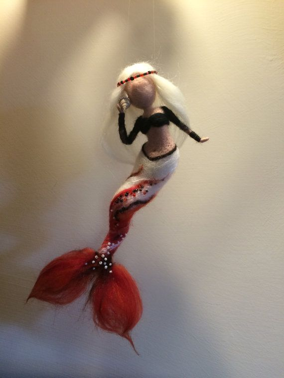 Needle felted mermaid, Waldorf inspired, Wool felted doll, Fairy, Art doll, Red…