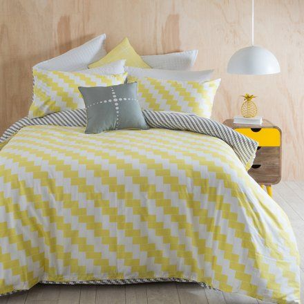 This modern diagonal stripe is an edgy design that will bring a contemporary look to your bedroom.