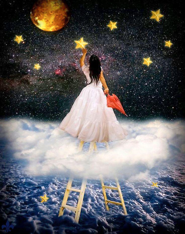 Днем рождения, чудесных ярких сновидений и облаков анимации картинки