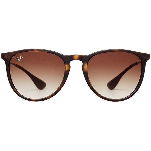 Ray-Ban RB4171 Erika Sunglasses featuring polyvore, fashion, accessories, eyewear, sunglasses, brown, ray ban eyewear, ray-ban, tortoise shell sunglasses, tortoiseshell sunglasses and brown sunglasses