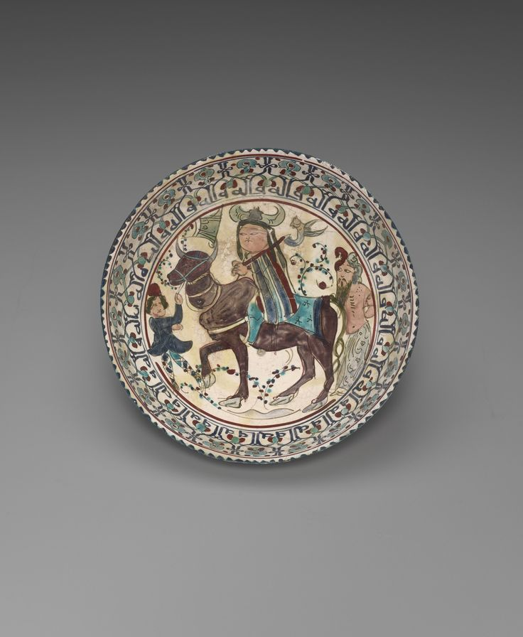 Bowl depicting Faridun, Kava, and Zahhak in an episode from Firdawsi's Shahnameh late 12th–early 13th century.Culture:  Persian, Iranian, Islamic, probably Kashan Period:  Seljuk dynasty (1038–1194) Classification:  Containers - Ceramic - See more at: http://artgallery.yale.edu/collections/objects/bowl-depicting-faridun-kava-and-zahhak-episode-firdawsis-shahnameh#sthash.8mCJy1xo.dpuf  Mina'i ware; fritware with...