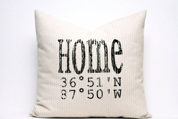 personalized pillow longitude and latitude pillow map by coverLove