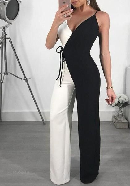 66dc0001a7a Black Spaghetti Strap Lace-Up V-neck High Waisted Work Suit Elegant Party Long  Jumpsuit