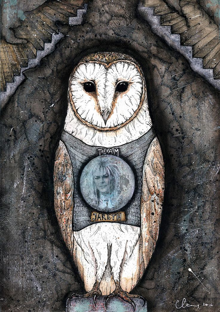 Labyrinth movie art - Jareth - David Bowie -Barn Owl - mixed media print by CatcolLand