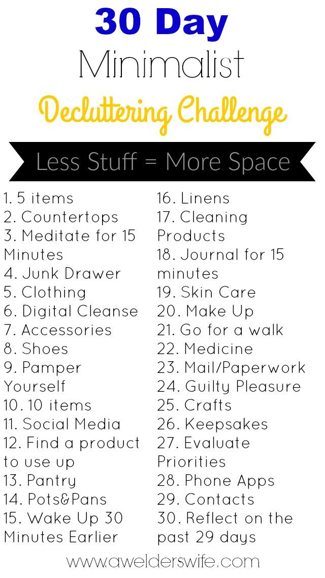 """""""30 Day Minimalist Decluttering Challenge."""" Routines, ideas, activities and worksheets to support your self-care. Tools that work well with motivation and inspirational quotes. For more great inspiration follow us at 1StrongWoman."""