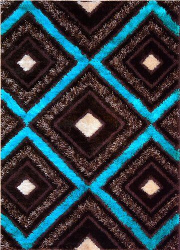 Royal Collection Turquoise Blue Brown Contemporary Design Shaggy Shag Area  Rug (6096) (4