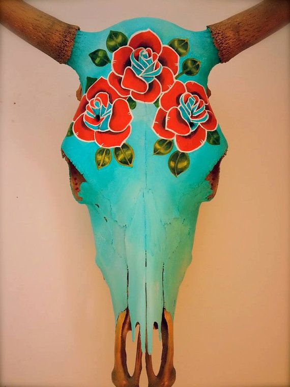Hand-painted steer skulls. Beautiful, bespoke, uniquely decorated and ready to hang inside or out. A stunning Conversation piece!