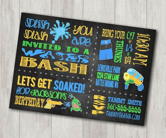 Water Party Birthday Invitation  Custom by GracefulCelebrations, $10.00