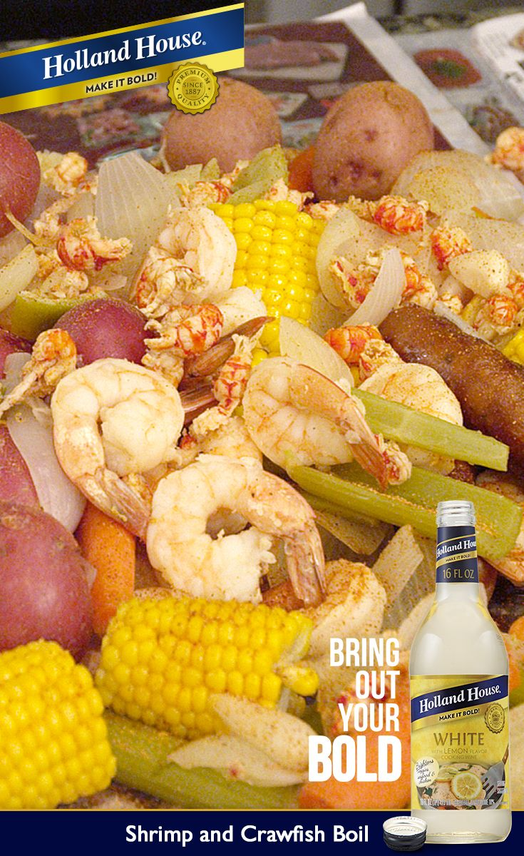 This easy Shrimp and Crawfish Boil needs just one pot, 20 minutes and one bottle of Holland House White Cooking Wine with Lemon. Fresh vegetables, crawfish, sausage and shrimp are boiled together for a hands-on meal that's full of bold, spicy flavor. Perfect for a party or a fun family dinner.