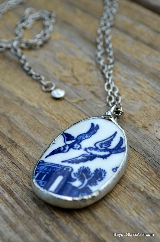 Blue Willow China Necklace Broken Plate Jewelry by BayouGlassArts, $48.00