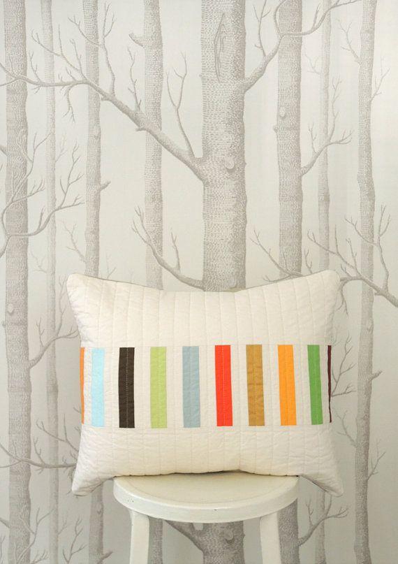 Modern Lumbar Pillow Picket Multi by bperrino on Etsy, $48.00