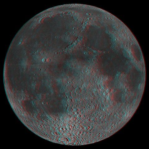 This 3D image of the near side of the moon was taken by the Lunar Reconnaissance Orbiter, using what's known as an anaglyph technique, which captures multiple images with two different color filters and overlays them. This not only helps planners select eventual lunar landing sites, it also helps them analyze lunar geology.
