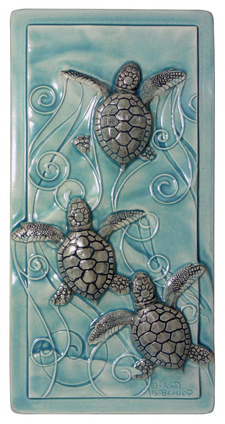 Home decor, art tile, Magic in the Water, baby sea turtles by MedicineBluffStudio on Etsy